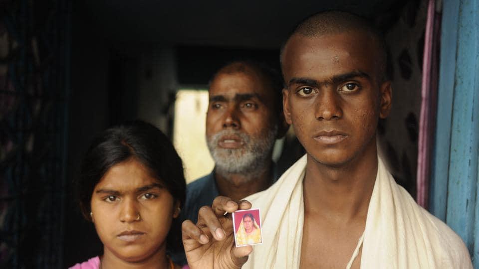 Pratima Devi Raut's younger son Sanjiv, daughter Anjali and husband Sailender at their Asansol home.