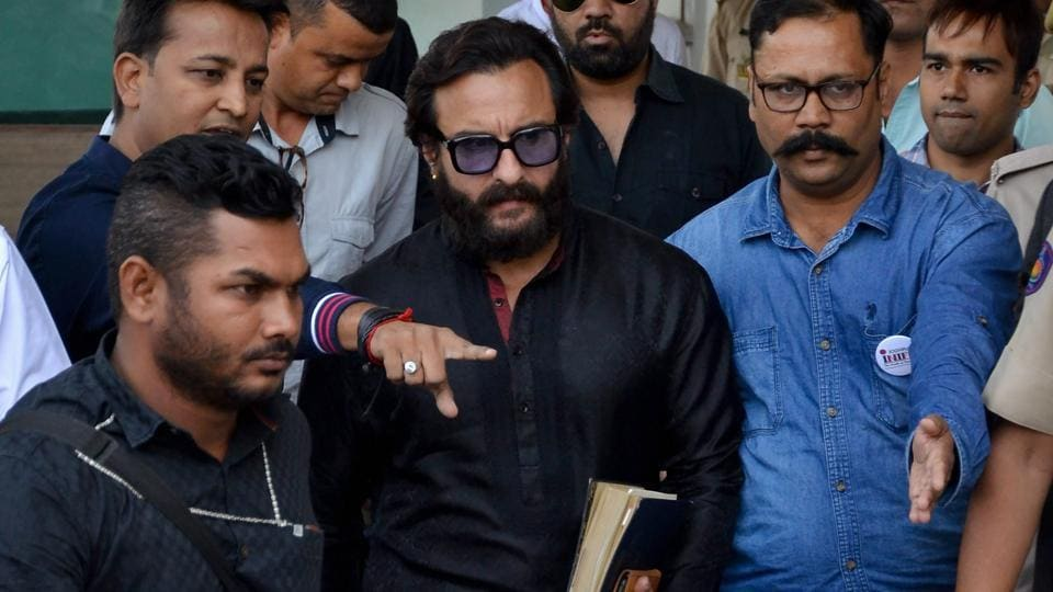 Actor Saif Ali Khan leaves Jodhpur airport to appear in the chief judicial magistrate court in the 1998 Blackbuck hunting case, in Jodhpur on Wednesday.