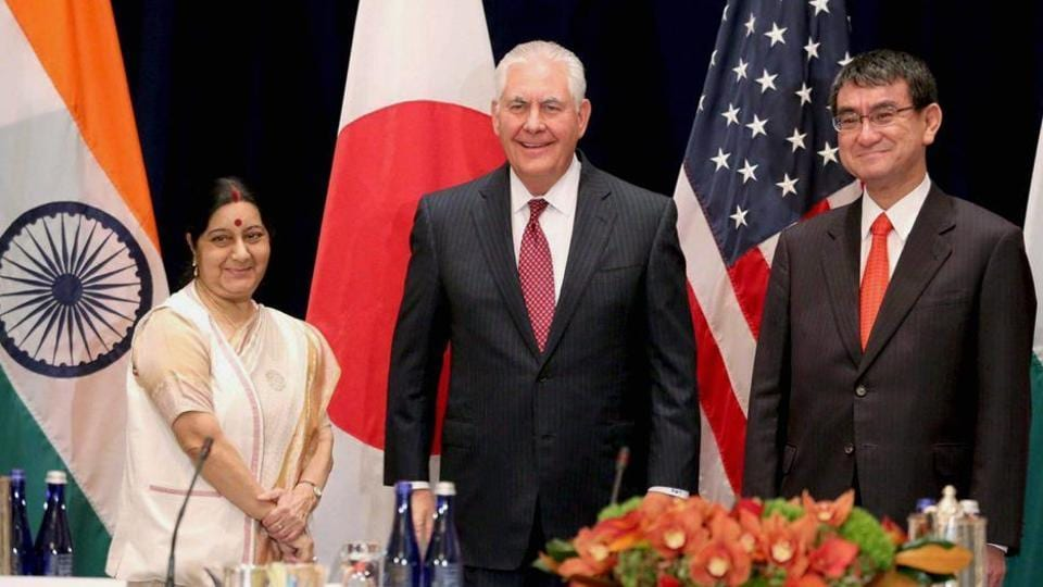 External affairs minister Sushma Swaraj with US secretary of state Rex Tillerson and Japanese foreign minister Taro Kono at the Palace Hotel in New York on September 18, 2017.  Senior officials from the three countries held talks in accordance with the directions given by the foreign ministers, who met in New York on September 18.