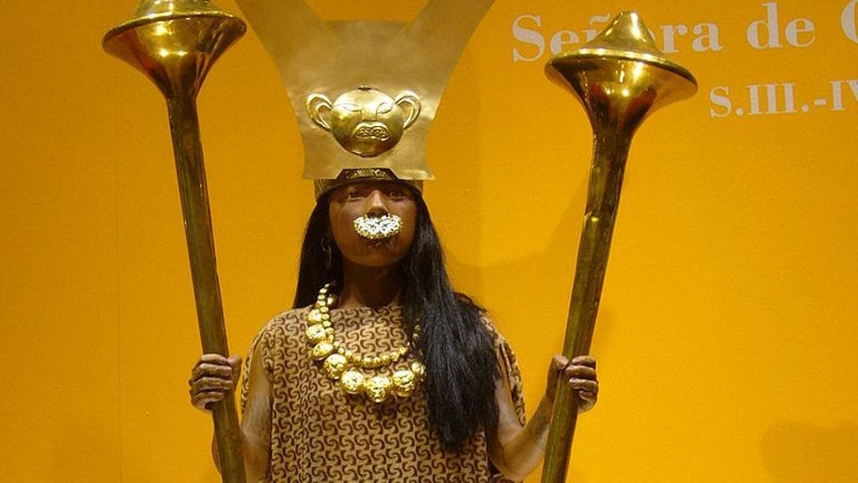 A replica of the Lady of Cao, who governed in the 4th century during the Moche culture in ancient Peru.