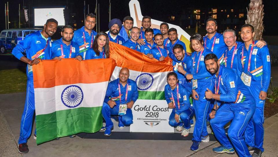 The Indian contingent during the country's flag-hoisting ceremony of the Commonwealth Games 2018 at Gold Coast in Australia on Monday.