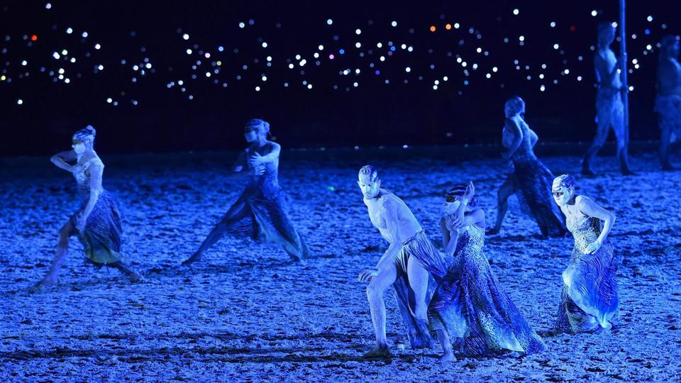 Artists perform at the opening ceremony of 2018 Commonwealth Games. (PTI)