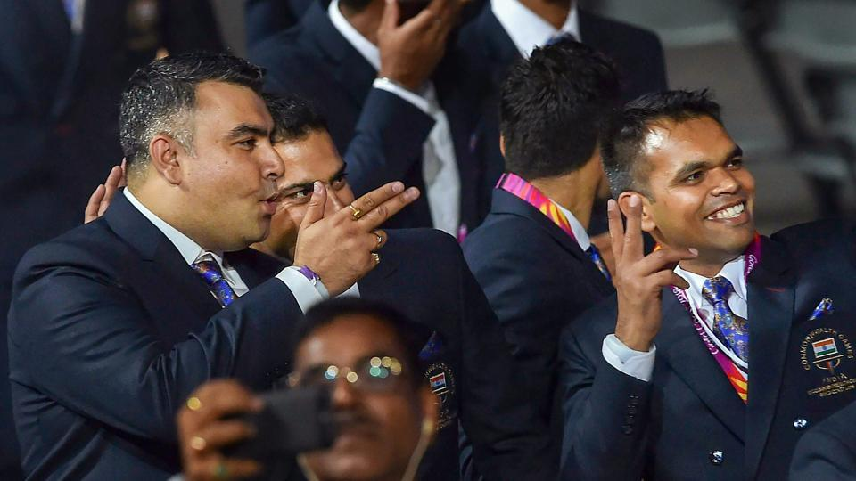 Olympic medallist shooter Gagan Narang during the opening ceremony. (PTI)