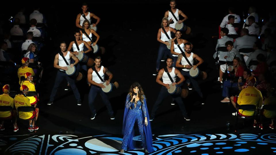 Delta Goodrem performs during the opening ceremony.y (REUTERS)