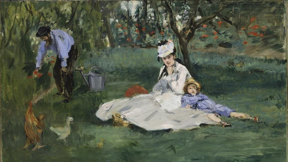 This photo provided by The Metropolitan Museum of Art shows Edouard Manet's 'The Monet Family in Their Garden at Argenteuil,' oil on canvas 1874.