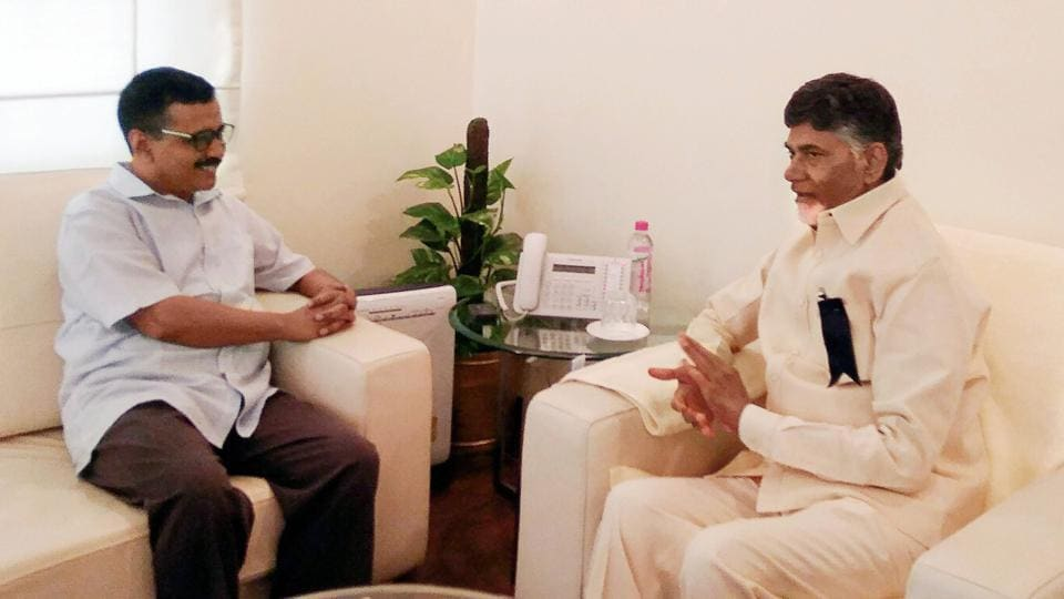 "Andhra Pradesh chief minister N Chandrababu Naidu met his Delhi counterpart Arvind Kejriwal amid attempts to garner support for the no-confidence motion moved by his party TDP against the Centre on Wednesday. It is believe Naidu discussed the issue of Special Category Status, promised under the Andhra Pradesh Reorganisation Act, 2014, and the Centre's ""injustice"" toward his state. (PTI)"