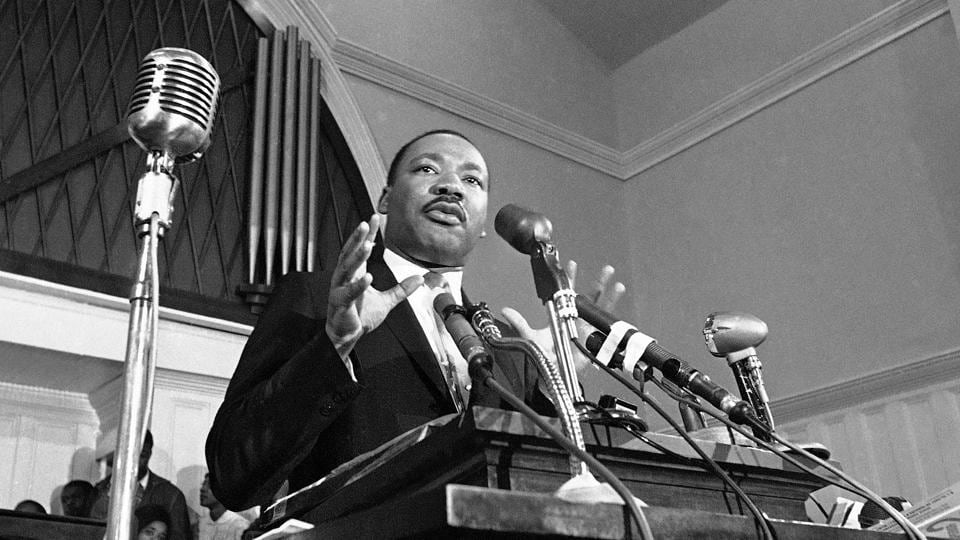 Martin Luther King Jr. speaks in Atlanta in 1960. The civil rights leader who was assassinated fifty years ago today, carried the banner for the causes of social justice — organizing protests, leading marches and making powerful speeches exposing the scourges of segregation, poverty and racism. (AP File)