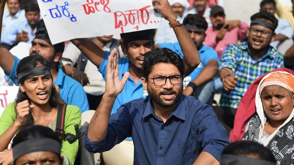 Activist Jignesh Mevani protests deaths of Dalits during Monday's Bharat Bandh in Bengaluru on Wednesday.