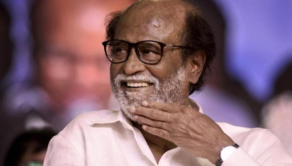 Tamil actor Rajinikanth gestures at an event where he unveiled a statue of former Tamil Nadu chief minister MG Ramachandran at Dr MGR Educational and Research Institute in Chennai.