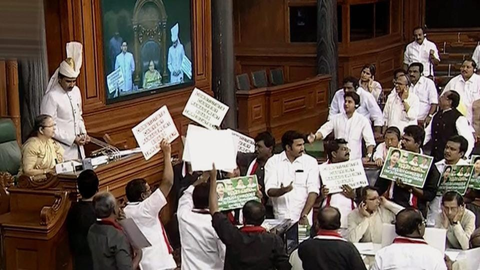 Rajya Sabha adjourned for the day amid protest