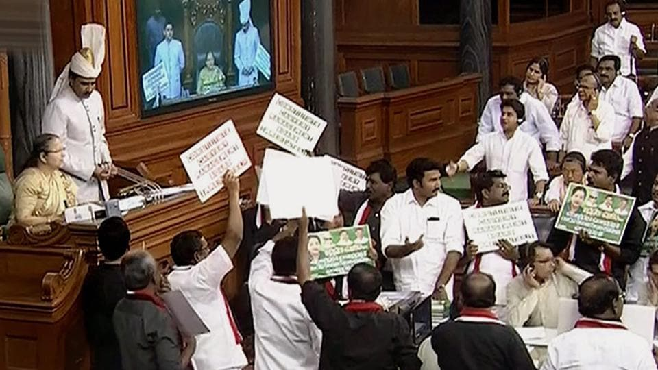 Opposition members protest in front of Lok Sabha Speaker Sumitra Mahajan during the second phase of the budget session of Parliament, in New Delhi on Wednesday.