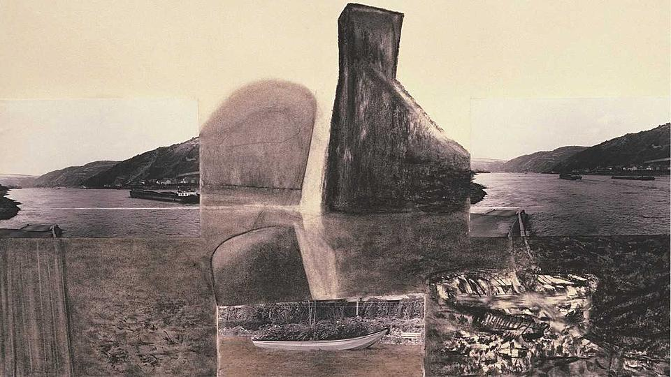 Shifting the Elements 2, from 1988, an early collage of photos and drawings in charcoal that talk of the oil crisis.