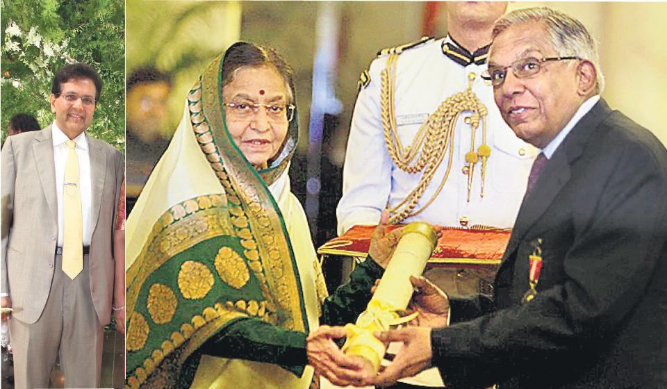 MV Subbiah getting his Padma Bhushan from former president Pratibha Patil; (left) Dilip Piramal.