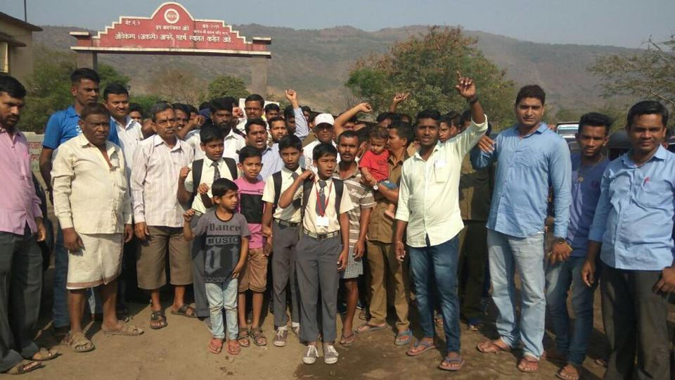The villagers blocked Tata Hospital road to protest against the mining work in the area.