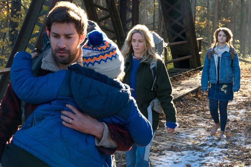 John Krasinski and Emily Blunt are masterful as the couple trapped on a deserted farmstead with their two children, forced to live in silence.