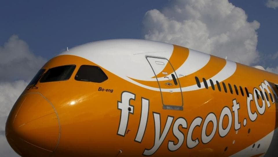A Scoot Boeing 787 Dreamliner is displayed at the Singapore Airshow at Changi Exhibition Centre.
