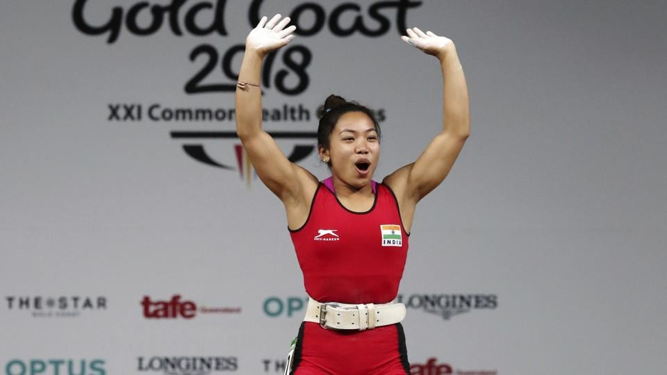 Mirabai Chanu celebrates after making a new Commonwealth record and Commonwealth Games record in women's 48kg Weightlifting at the Commonwealth Games in Gold Coast, Australia on April 5, 2018.  (AP)