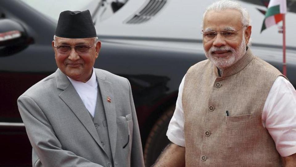 Nepal's Prime Minister Khadga Prasad Sharma Oli with his Indian counterpart Narendra Modi.