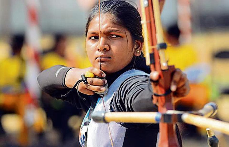 Natasha dumane in action during the Archery Championship 2018 on Thursday.
