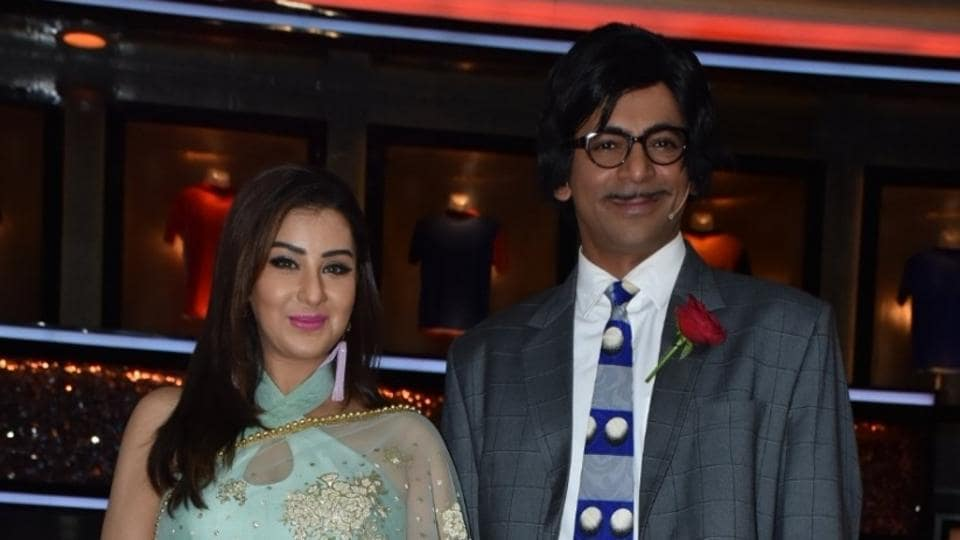 Sunil Grover and Shilpa Shinde at the launch of cricket and comedy show Dhan Dhana Dhan in Mumbai on April 4.