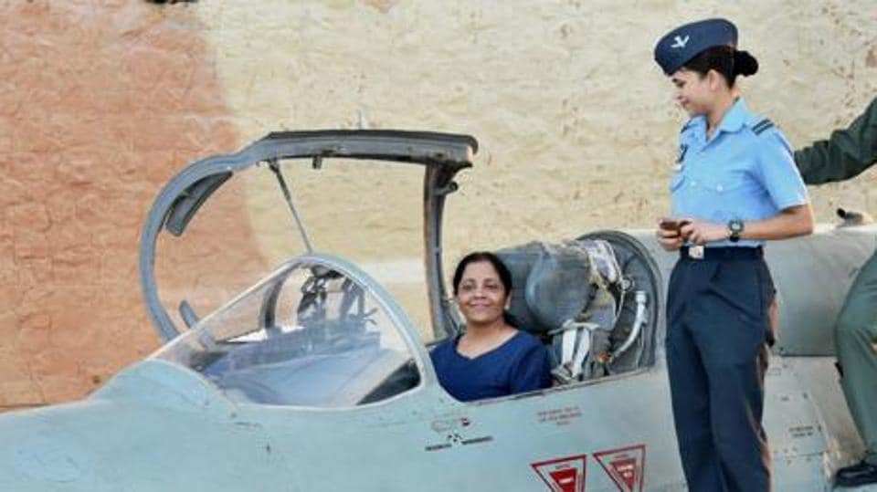Union defence minister Nirmala Sitharaman inside the cockpit of MIG-21 Biscon during her visit to Air Force Station Uttarlai in Gujarat on Sunday.  Sitharaman, who is currently in Moscow, held wide-ranging discussions on several military projects, including the proposed S-400 deal.