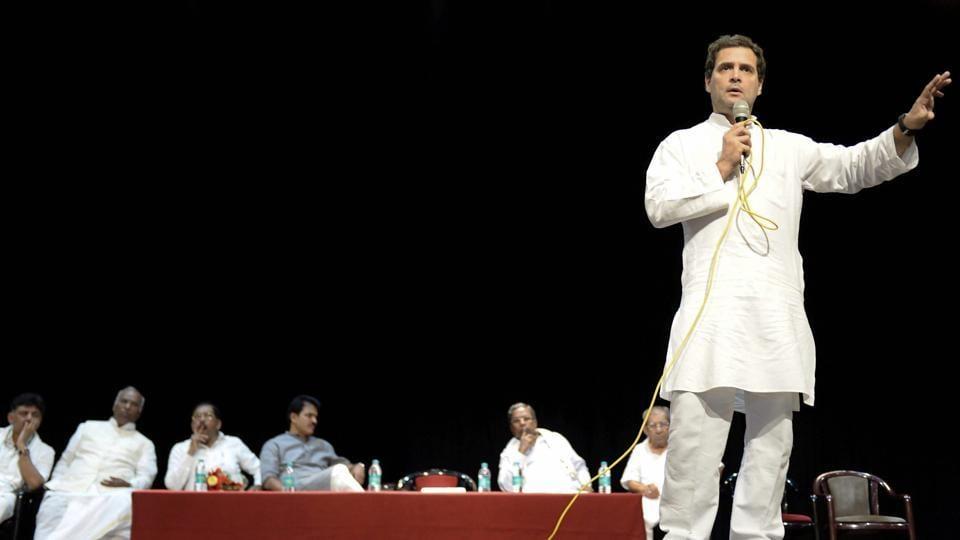 Congress president Rahul Gandhi addresses a crowd in Devangere, Karnataka.