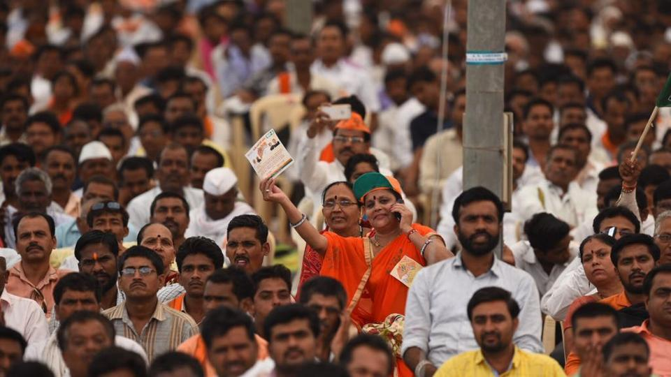Amit Shelar, BJP Mumbai chief pointed out how the BJP rally today was one of the biggest gathering of supporters. (Satish Bate/ht photo)