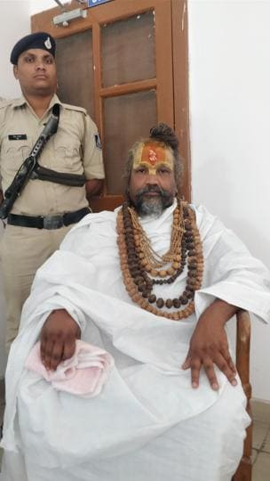 Swami Namdev (aka Computer Baba) at a government guest house at Bhopal after getting minister of state status from state government in Madhya Pradesh