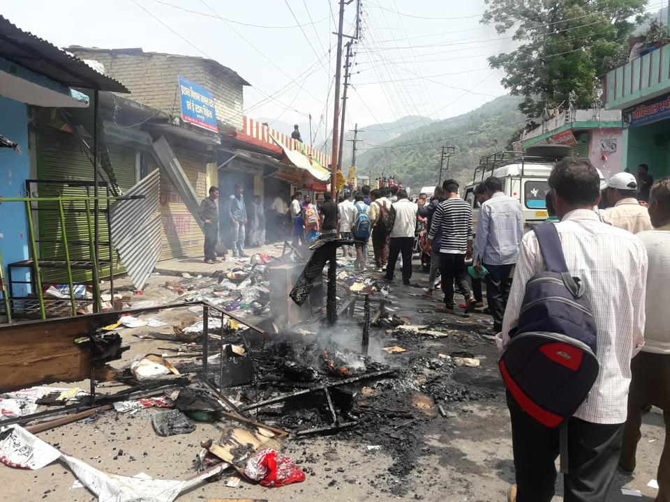 The shops vandalised in Agastmuni town in Rudraprayag district on Friday after a fake Facebook post triggered communal tension.