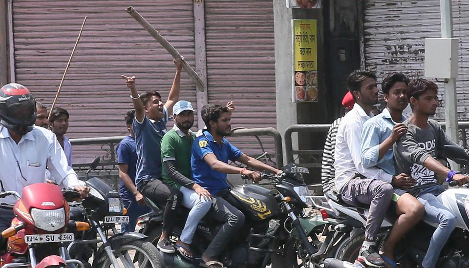 Protesters in Jaipur during a Bharat bandh on April 2 called by Dalit organisations against the alleged dilution of the SC/ST (prevention of atrocities)Act.