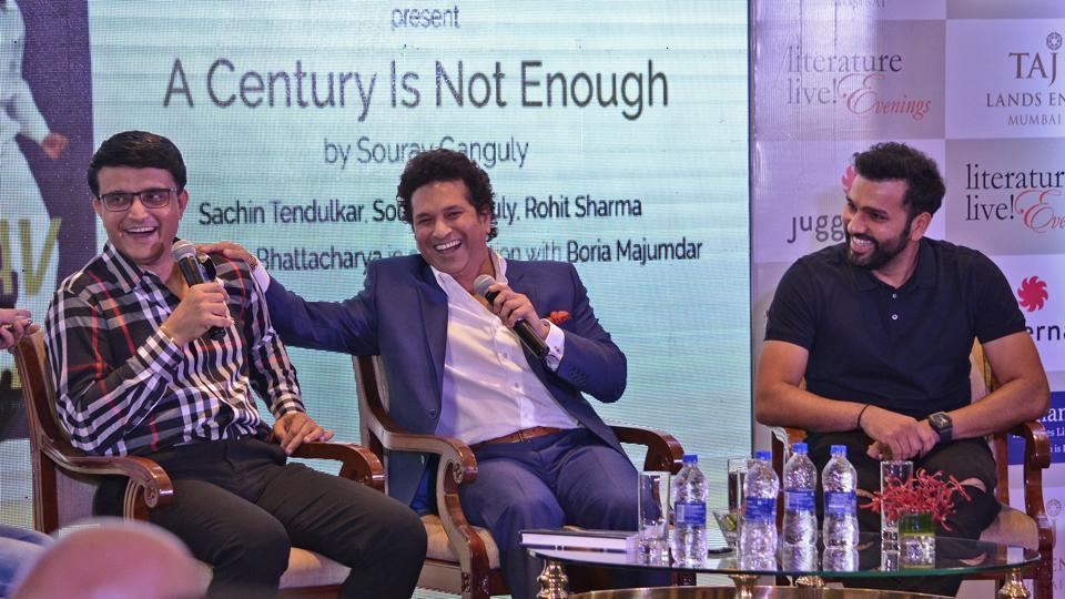 Indian cricketers Sourav Ganguly, Sachin Tendulkar and Rohit Sharma seen during the book launch of 'A century is not enough' by Sourav Ganguly at Bandra in Mumbai, Maharashtra  on April 04, 2018. (Ragul Krishnan / HT Photo)
