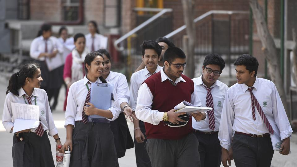 Students coming out after appearing for CBSE Class 12 examination at Bharatiya Vidya Bhavan in New Delhi  on March 15, 2018.