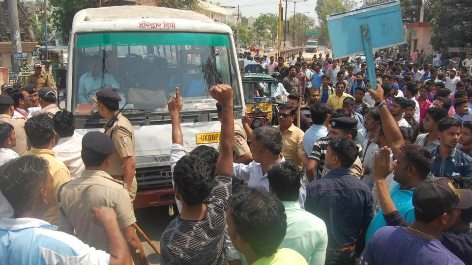 Over 15 people got injured in clashes in Roorkee during the protest.