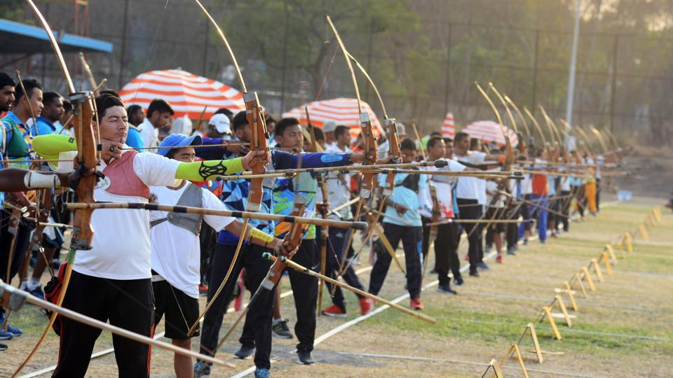 Participants in action during the Archery Championship 2018 on Thursday. (Shankar Narayan/HT PHOTO)