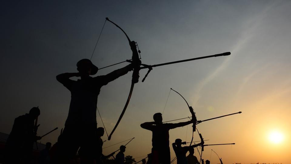 Silhouettes of participants of the Archery Championship 2018 on Thursday. (Shankar Narayan/HT PHOTO)