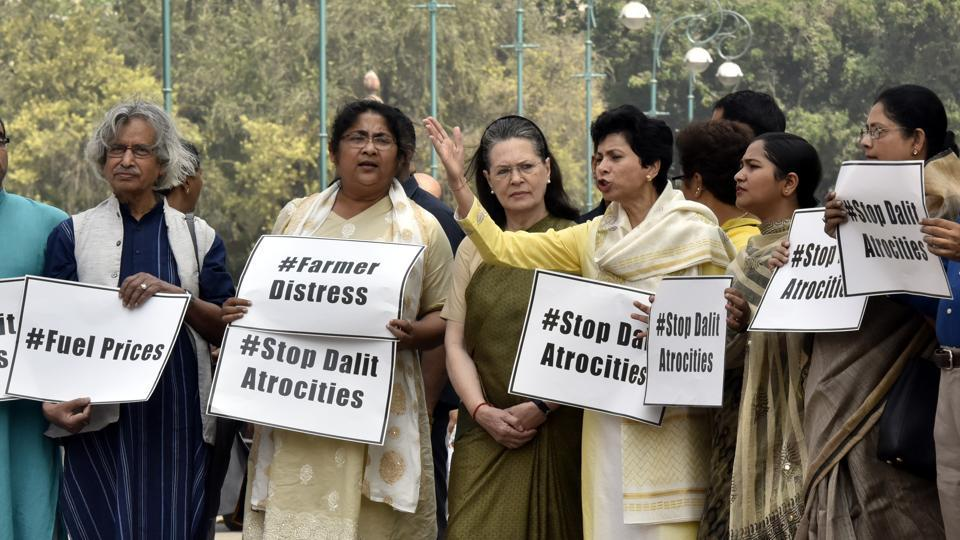UPA Chairperson Sonia Gandhi, MP Kumari Selja and other party MPs protest during an opposition party members' protest at the Parliament during the Budget session in New Delhi on April 05, 2018. (Sonu Mehta / HT Photo)