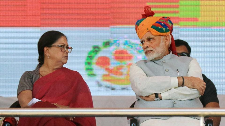 Prime Minister Narendra Modi and Rajasthan Chief Minister Vasundhara Raje during the launch of National Nutrition Mission in Jhunjhunu , one of the three districts in Shekhawati region.