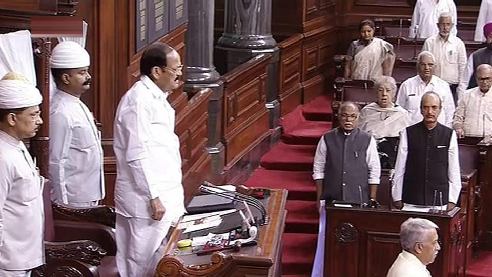 Rajya Sabha chairperson M Venkaiah Naidu and other MPs on the last day of the budget session in the Rajya Sabha, at Parliament House in New Delhi on Friday.