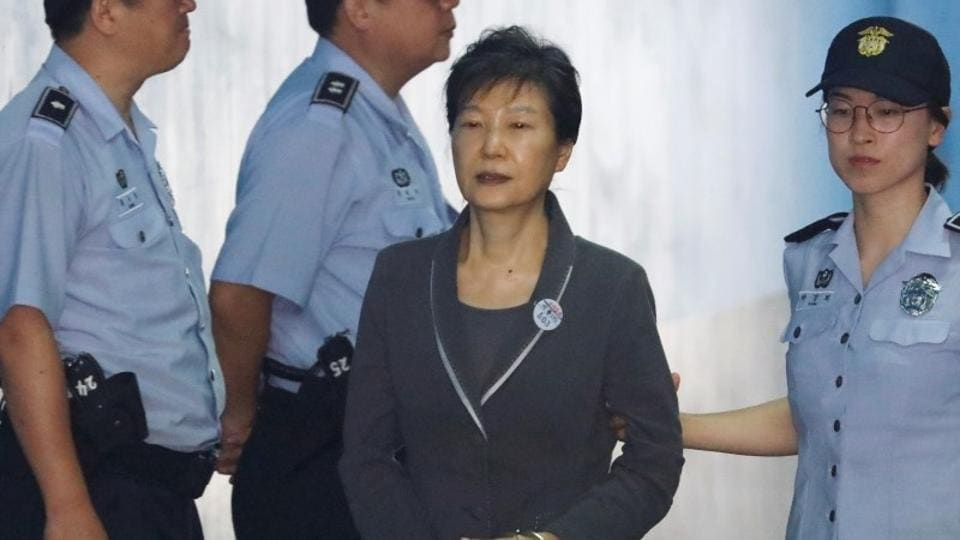 South Korean ousted leader Park Geun-hye arrives at a court in Seoul, South Korea, in August 2017.