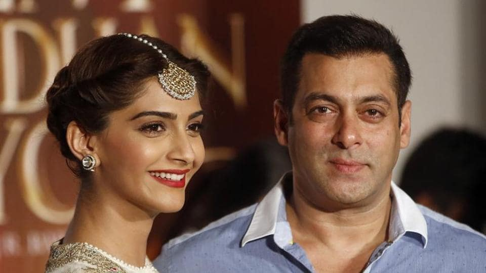 Sonam Kapoor and Salman Khan at the launch of their film, Prem Ratan Dhan Paayo.