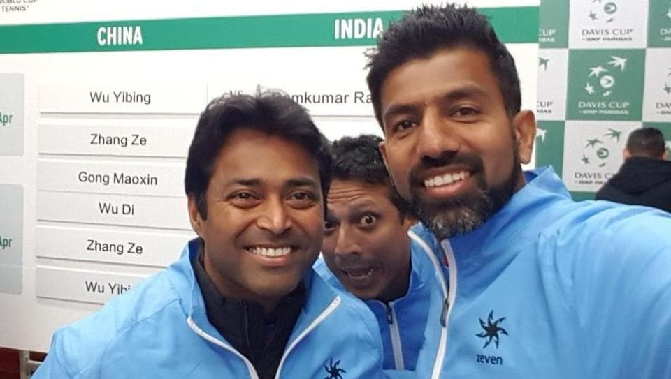 Leander Paes (L) has perched himself on a pedestal from where it will require a superhuman effort to displace him.