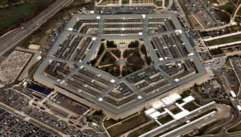 An ariel view of the Pentagon from Air Force One, March 29, 2018.