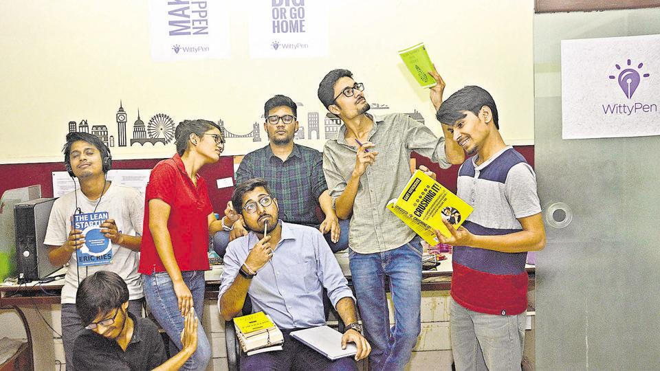Anshul and his colleagues at Witty Pen pose for a picture on Thursday.