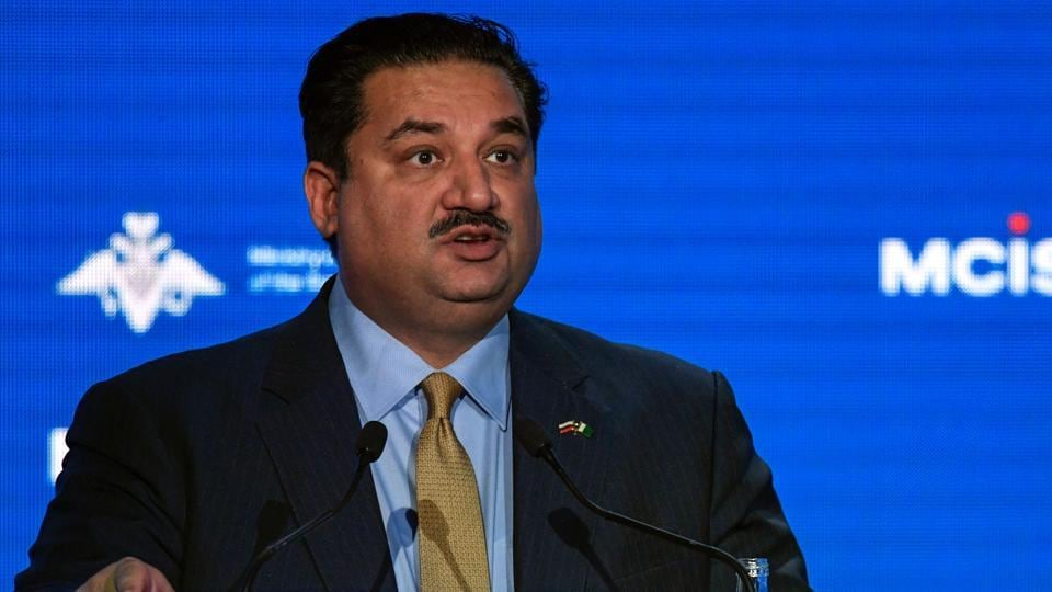 Pakistani defence minister Khurram Dastgir Khan attends the VII Moscow Conference on International Security MCIS-2018 in Moscow on April 4, 2018.