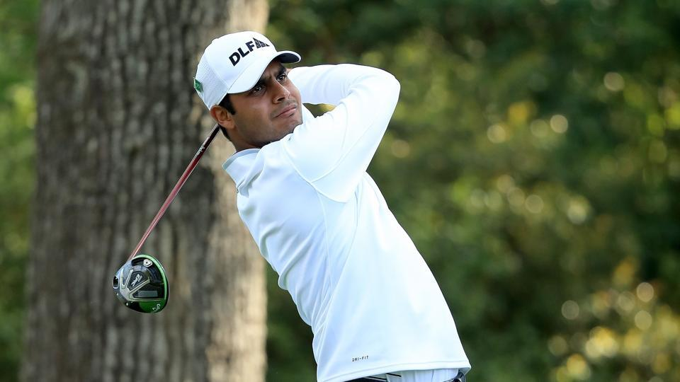 Shubhankar Sharma of India plays his shot from the second tee during the second round of the 2018 Masters Tournament at Augusta National Golf Club on April 6, 2018 in Augusta, Georgia.