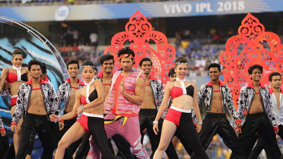 Varun Dhawan performs during the opening ceremony of the Indian Premier League 2018 (IPL 2018) before the first match between the Mumbai Indians and the Chennai Super Kings held at the Wankhede Stadium in Mumbai on the 7th April 2018.