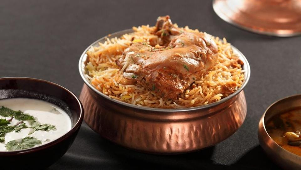 The Hyderabadi biryani uses a ground spice blend and can be spicy.