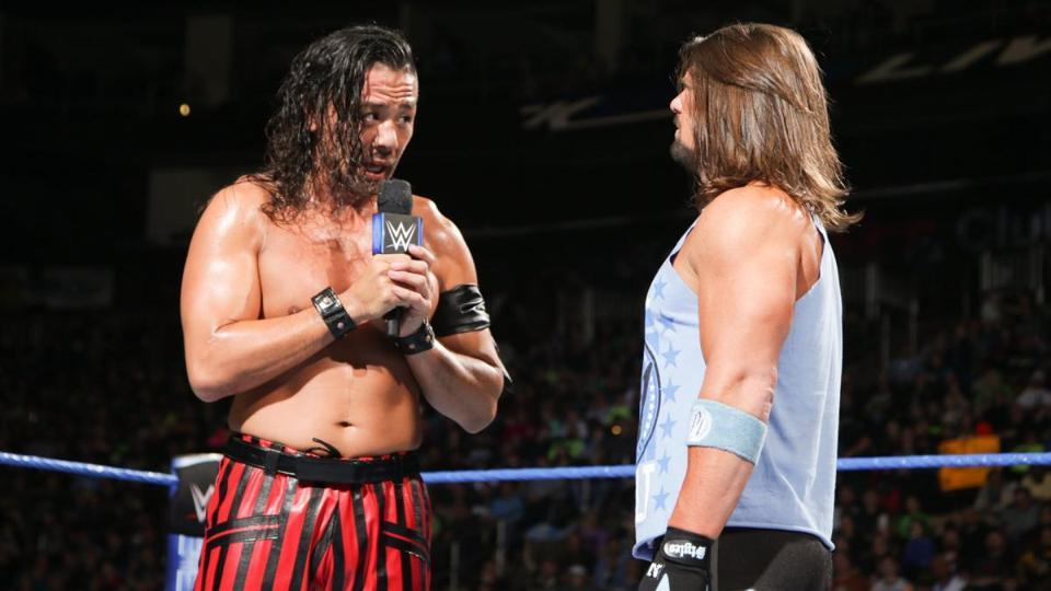The rivalry between Shinsuke Nakamura (L) and AJStyles has featured plenty of mind games but very little acrimony between the two superstars.