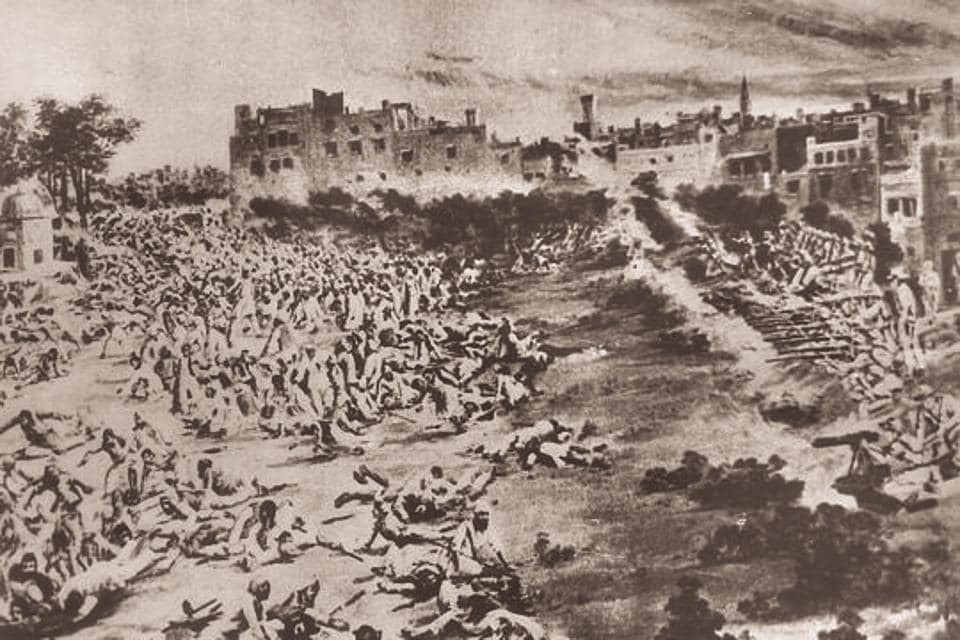 A scene of the Jallianwala Bagh massacre, Amritsar, 1999. The apology for the massacre should have come in 1919 itself , when the issue was discussed in the British Parliament
