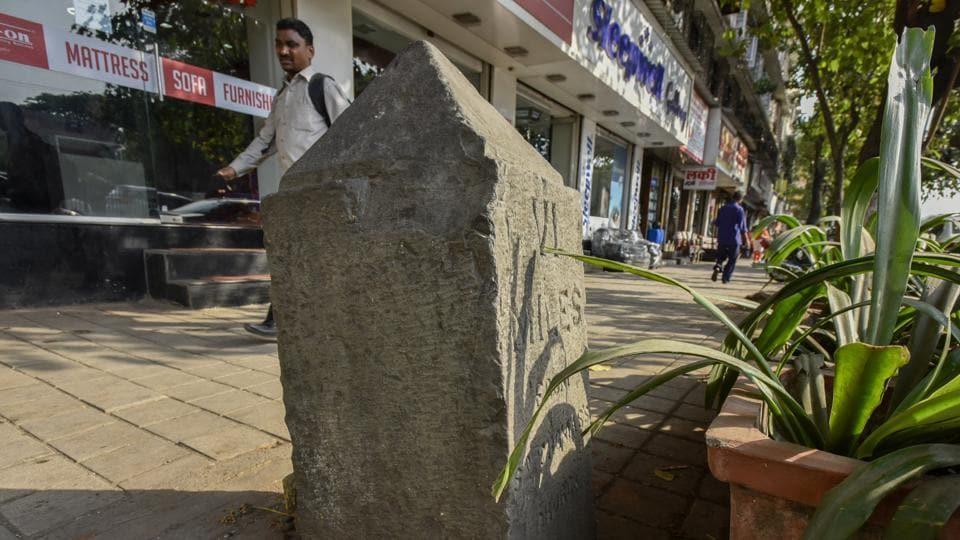 A milestones near Chitra Cinema, Dadar in Mumbai.